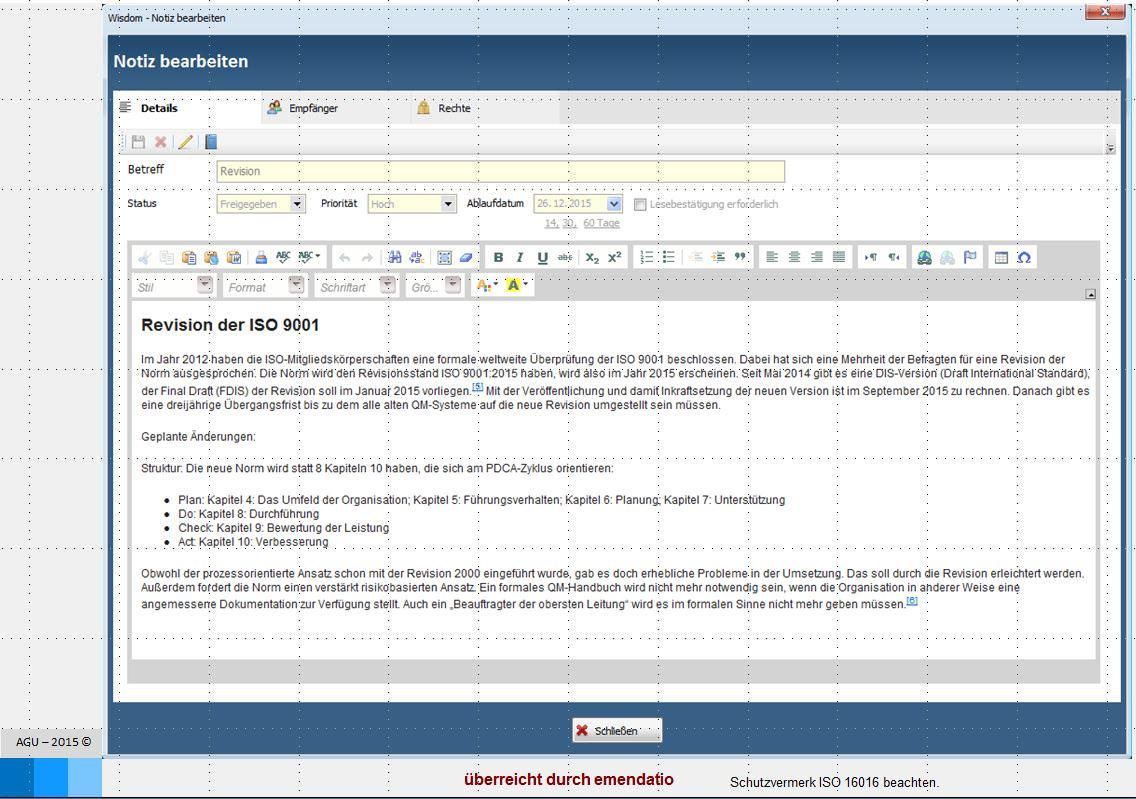 Das Bespiel Notizen verwalten der Software zum Normenmanagement