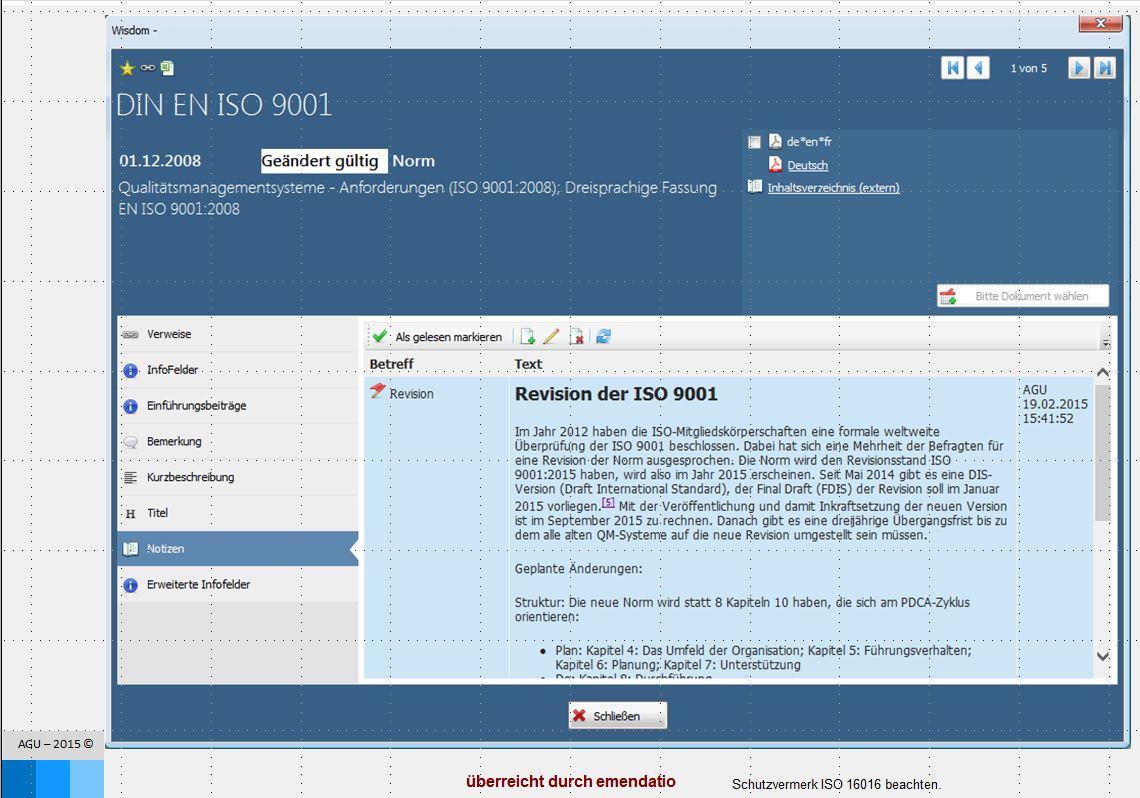 Software zum Normenmanagement und Regelwerkmanagement am Beispiel Notizen anzeigen